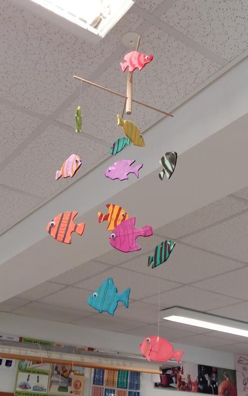 Décoration mobile de poissons