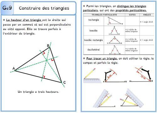 Leçon Ge9 Construire des triangles