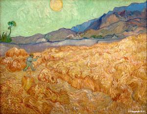 Vincent Van Gogh, Champ de blé avec un faucheur, 1889, 92 cm x 73 cm, huile sur toile, disponible sur: http://www.insecula.com/oeuvre/O0021396.html