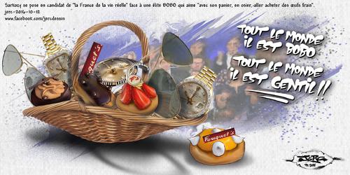 """dessin de JERC du mercredi 12 octobre 2016 caricature Nicolas Sarkozy """"marre de ce petit milieu parisien mondain qui se gave au frais du contribuable !"""" www.facebook.com/jercdessin"""