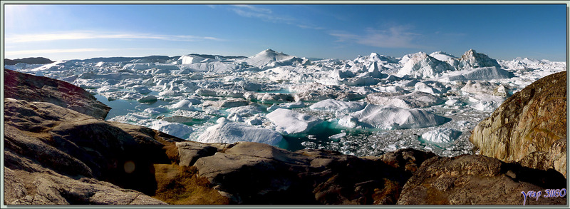Panorama sur l'Isfjord (Icefjord) vu de haut - Ilulissat - Groenland
