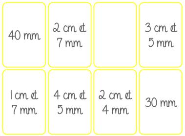 jeu mesure longueurs cm et mm