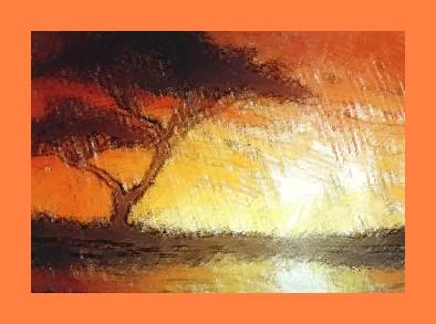 Dessin et peinture - vidéo 2193 : Silhouette d'un arbre sur coucher de soleil africain - peinture acrylique ou peinture à l'huile.