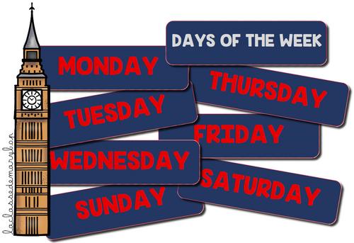 Anglais - les jours de la semaine