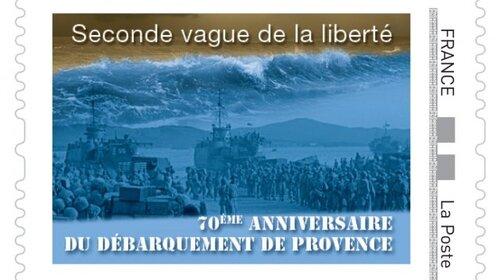 """* """"Seconde vague""""...mais pas des moindres ! Le timbre du Débarquement de Provence"""