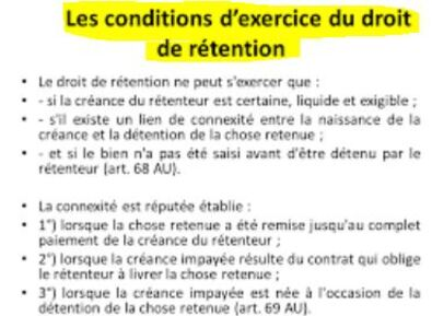 Les conditions du droit de rétention