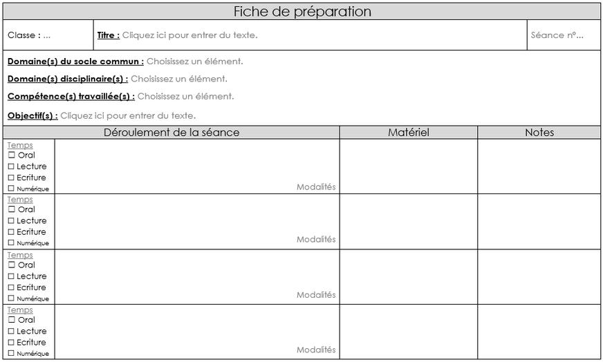 Fiche de préparation cycle 3 avec bandes déroulantes - Programmes 2015