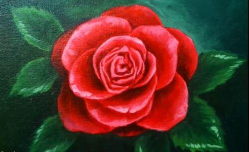Dessin et peinture - vidéo 2058 : Pour vous cette rose rouge... - acrylique sur toile.