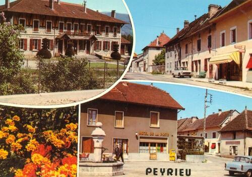 Une vue de Peyrieu avec une peugeot 404 et une P60 simca dans les années 1970