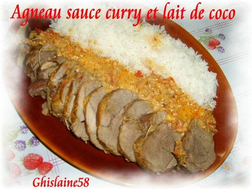 Roti d'agneau à la sauce Curry et Lait de coco