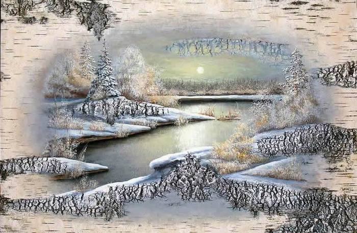 油画在白桦树皮由艺术家谢尔盖苏里南