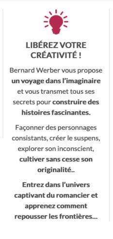 Masterclass Ecriture Bernard Werber