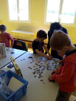 Le matin: des puzzles de 100 pièces