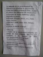 """Quatrième exposé """"La maçonnerie"""""""