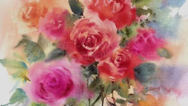 """Dessin et peinture - vidéo 1926 : Dessin et peinture - vidéo 1930 : Comment peindre des roses à l'aquarelle et au tampon, avec la méthode """"humide sur humide"""" 2 ?"""