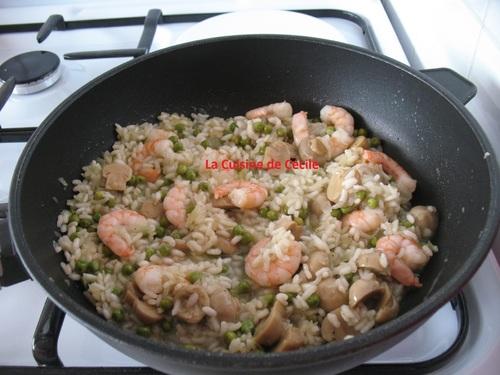 Risotto aux crevettes et champignons