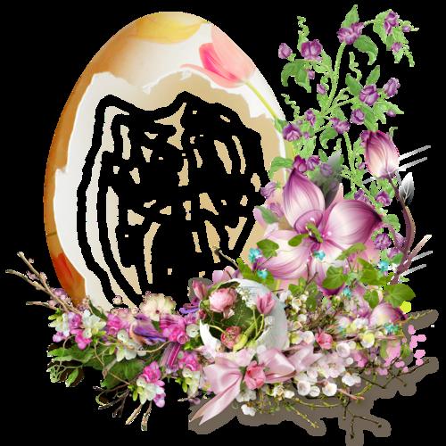 cluster paques oeuf et fleurs