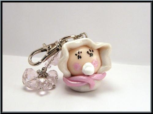 Bijoux de sac bébé en pâte fimo et perle cristal rose