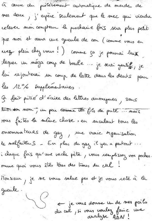 Lettre à Gaz de France