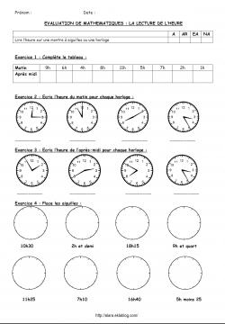 Evaluation sur l'heure