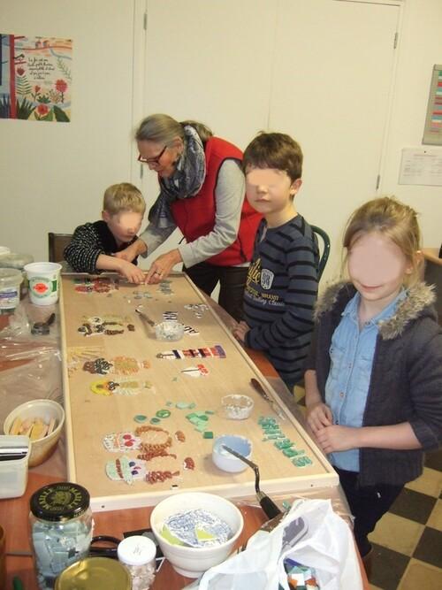 Ecole du Sacré Cœur -Bouvignies- Fresque - après 3 ateliers