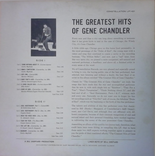 "Gene Chandler : Album "" The Greatest Hits Of Gene Chandler "" Constellation Records LP 1421 [ US ]"