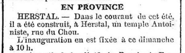 Herstal - construction du temple (Le Télégraphe, 17 novembre 1917)(Belgicapress)