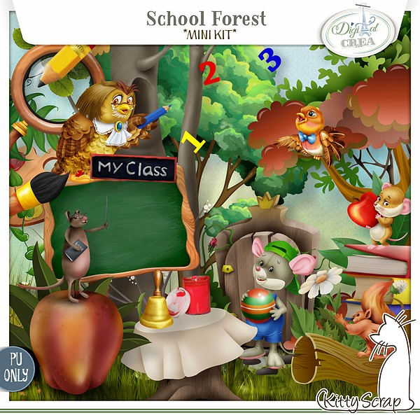 mini kit school forest de kittyscrap