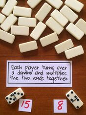 Simple domino game for multiplication.:
