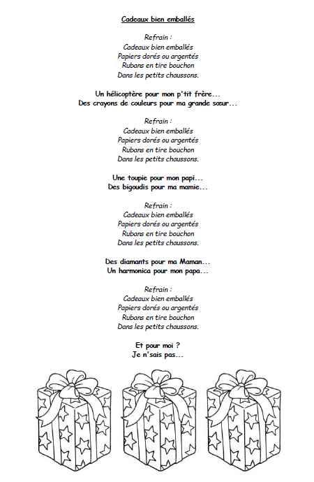 """Chorale noël : chant """"Cadeaux bien emballés"""""""