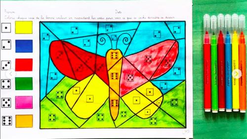 coloriage magique : le papillon
