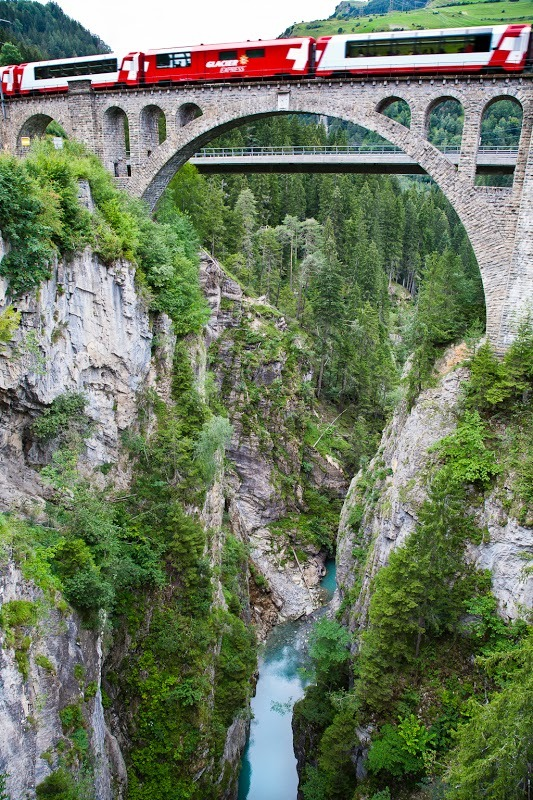 The Glacier Express, Solis Viaduct, Graubünden, Switzerland