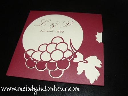 Faire part thème vin/raisin, prototype validé