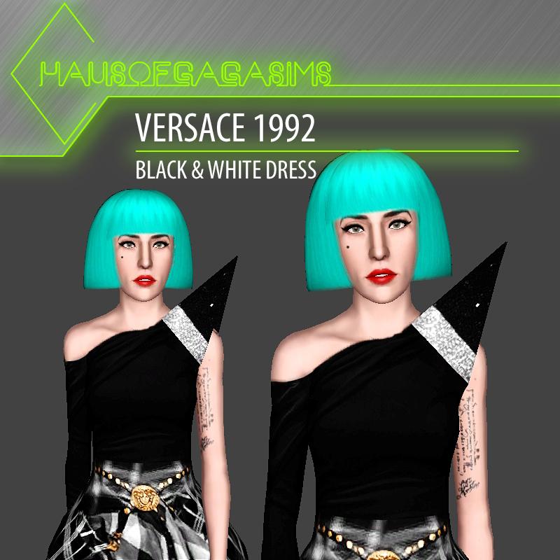 VERSACE 1992 BLACK & WHITE DRESS