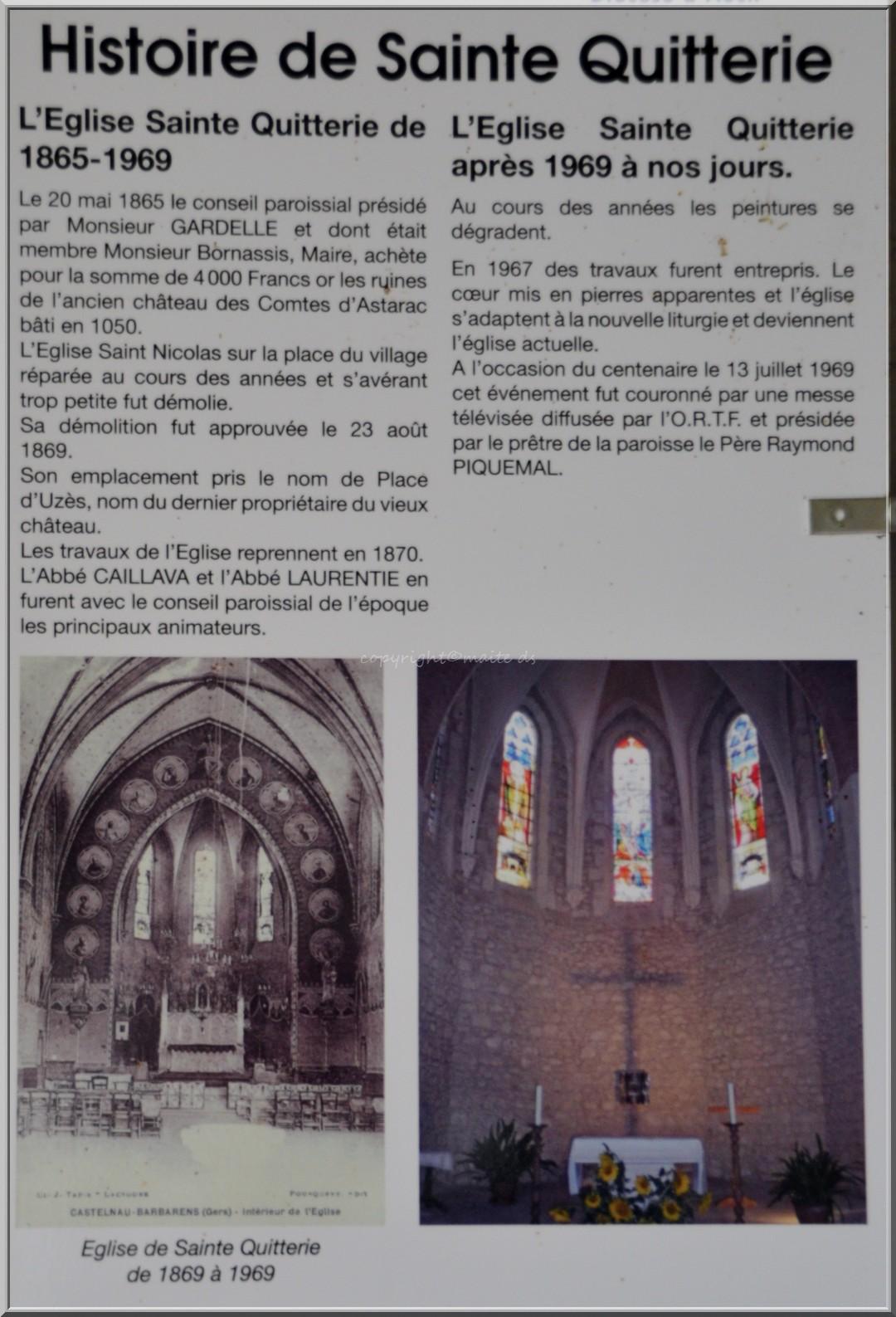 Histoire de l'église Ste-Quitterie Castelnau Barbarens - Gers (3)