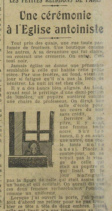 Une cérémonie à l'Église antoiniste (L'Œuvre, 1er sept 1928)