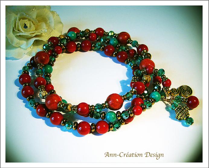 Bracelet Elastique 3 rangs : Corail rouge Turquoise & Jaspe / Cristal Verre Laiton