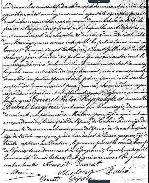 Victor Hippolyte Tourret Eugénie Buvat Mariage