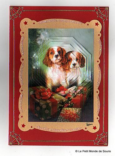 carte 3d motif cavalier king charles - Noël