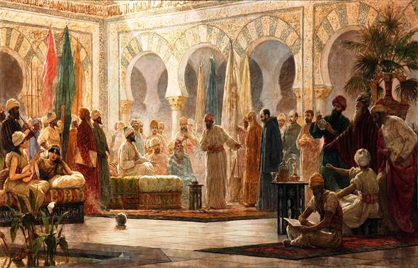 Abd-al-Rahman III reçoit des émissaires, Dionisio Baixeras Verdaguer, 1885, université de Barcelone.
