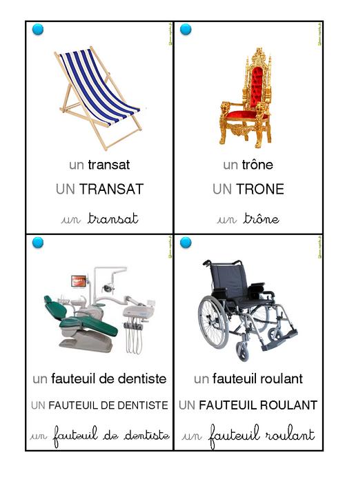 Vocabulaire des chaises