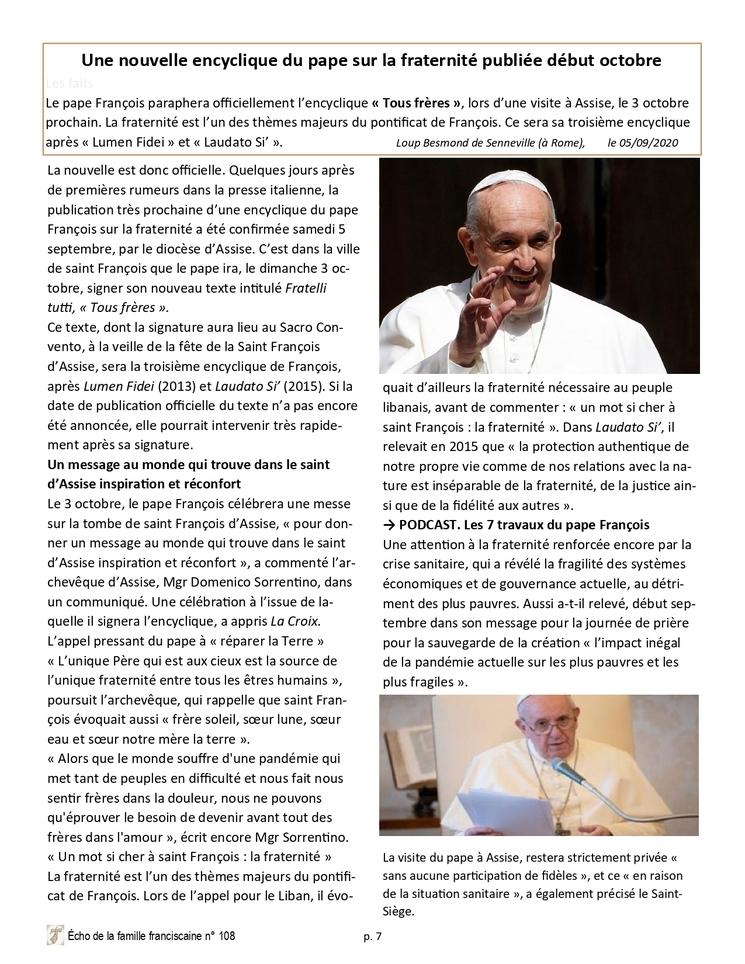 Le 3 octobre 2020 Fête de Saint François, le Pape sera à Assise
