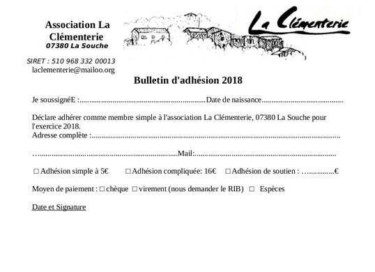 Adhésion 2018