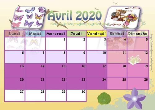 CALENDRIER enfant 2019/2020