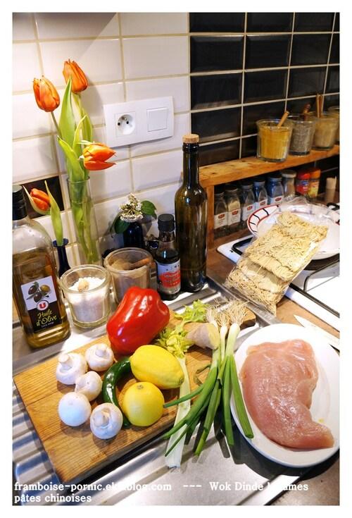 Wok Dinde marinée citron, gingembre, légumes et pâtes chinoises
