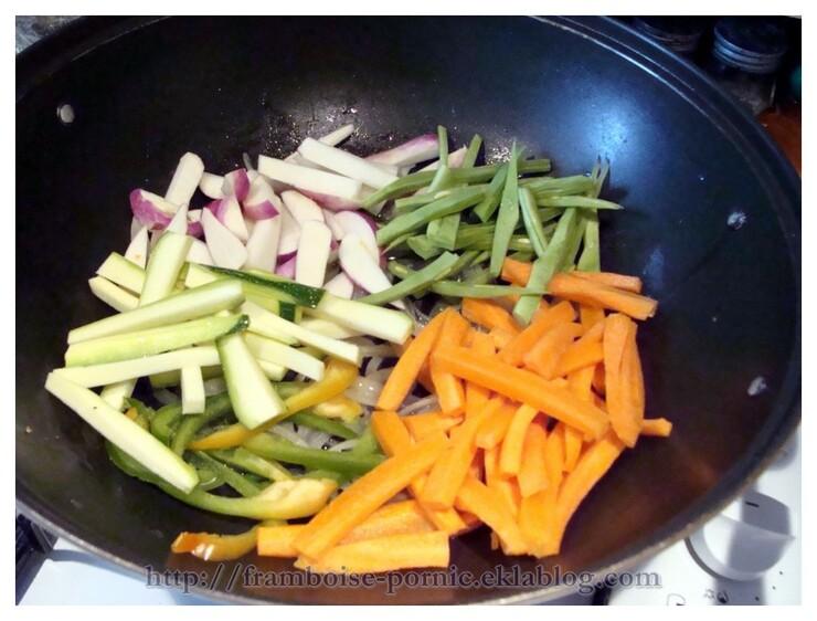 Blanc de poulet aux légumes au WOK