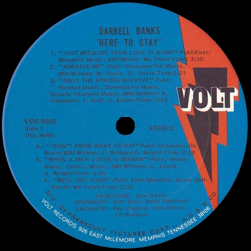 "Darrell Banks : Album "" Here To Stay "" Volt Records VOS 6002 [ US ]"