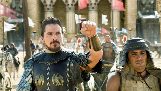 Description of . Christian Bale as Moses leads the Egyptians into battle in 'Exodus: Gods and Kings.' (Twentieth Century Fox)
