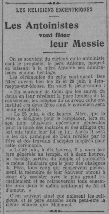 Les Antoinistes vont fêter leur Messie (Le Radical 21 juin 1913)