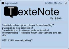 TexteNote 2.0 - A propos de